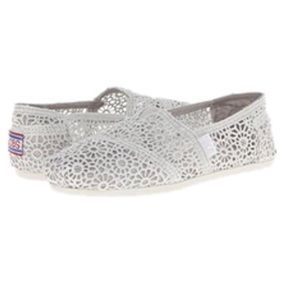 NEW Skechers bobs metallic crochet silver flats